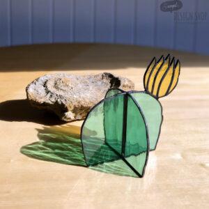 Virágzó kaktusz asztali üvegdísz, sárga virággal (közepes)