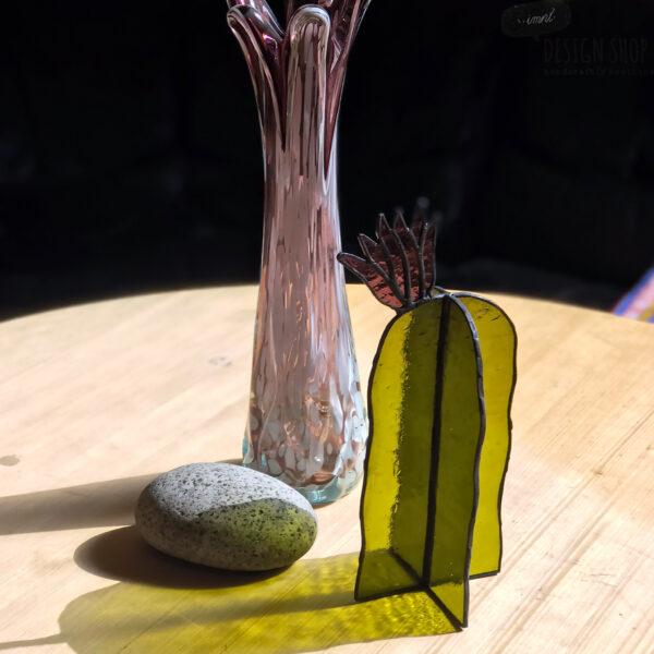 Virágzó kaktusz asztali üvegdísz, halványlila virággal (nagy)
