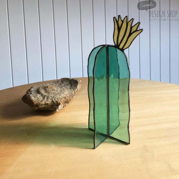 Virágzó kaktusz asztali üvegdísz, sárga virággal (nagy)