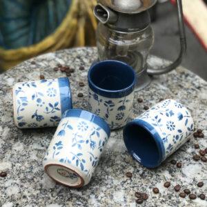 Kékvirágos kávés bögre