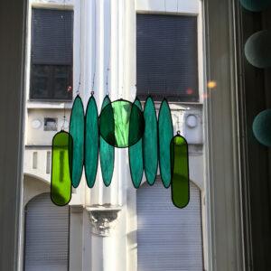 Üveg fénycsapda - Naplemente a kiserdőben (türkiz/zöld)