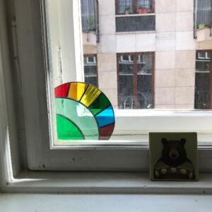 Üveg ablaksarok fénycsapda - zöld szivárványos